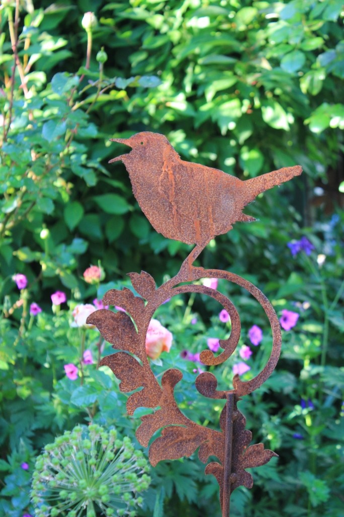 Vogel-Stecker aus Edelrost, frostfest